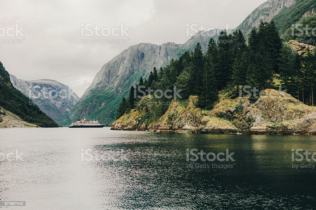 Naeroyfjord in Norway stock photo