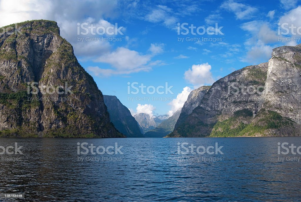 Naeroyfjord in Norway, UNESCO World Heritage Site since 2005 royalty-free stock photo