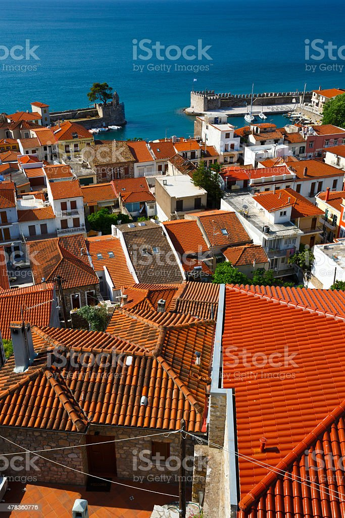 Nafpaktos village. stock photo
