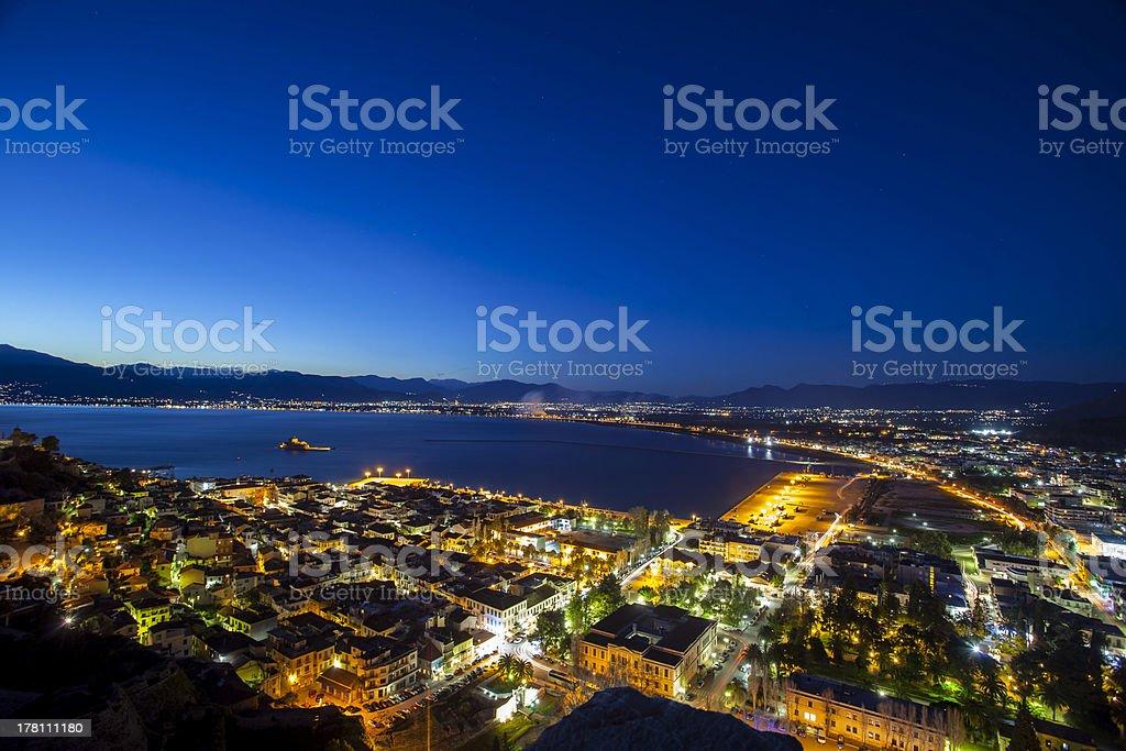 Nafplio by night stock photo