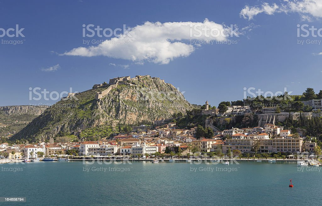 Nafplio town and Palamidi castle, Greece stock photo