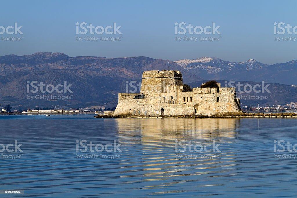 Nafplion harbour fort Bourtzi stock photo
