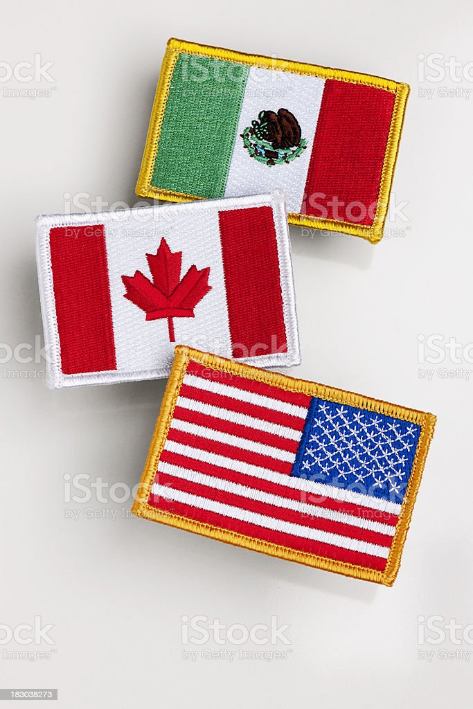 Nafta countries flag patch. royalty-free stock photo