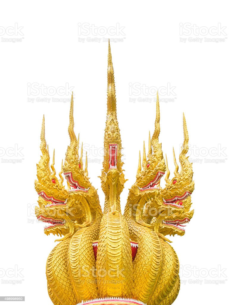 'Naga' 7 heads of golden big snake's statue. stock photo