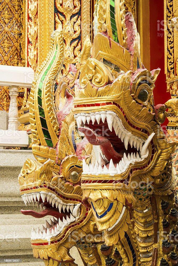 naga at thai temple royalty-free stock photo
