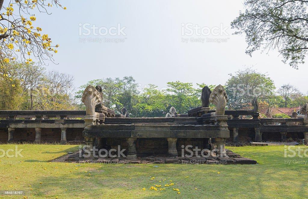 Naga Bridgein The Phimai historical park stock photo