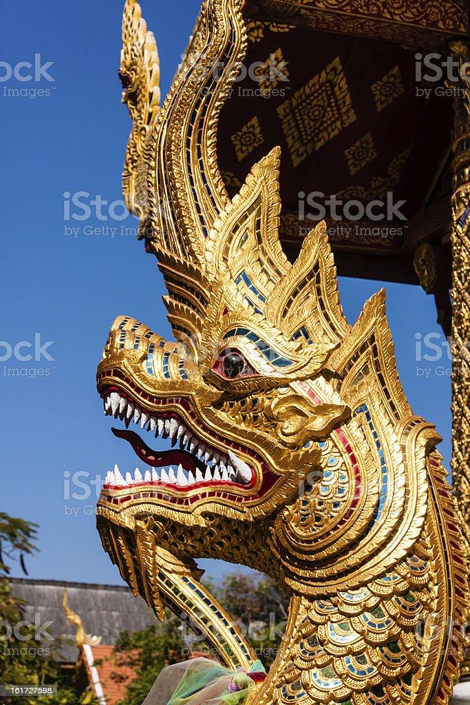 Naga in Wat Phra Singh, Chiang Mai, Thailand royalty-free stock photo