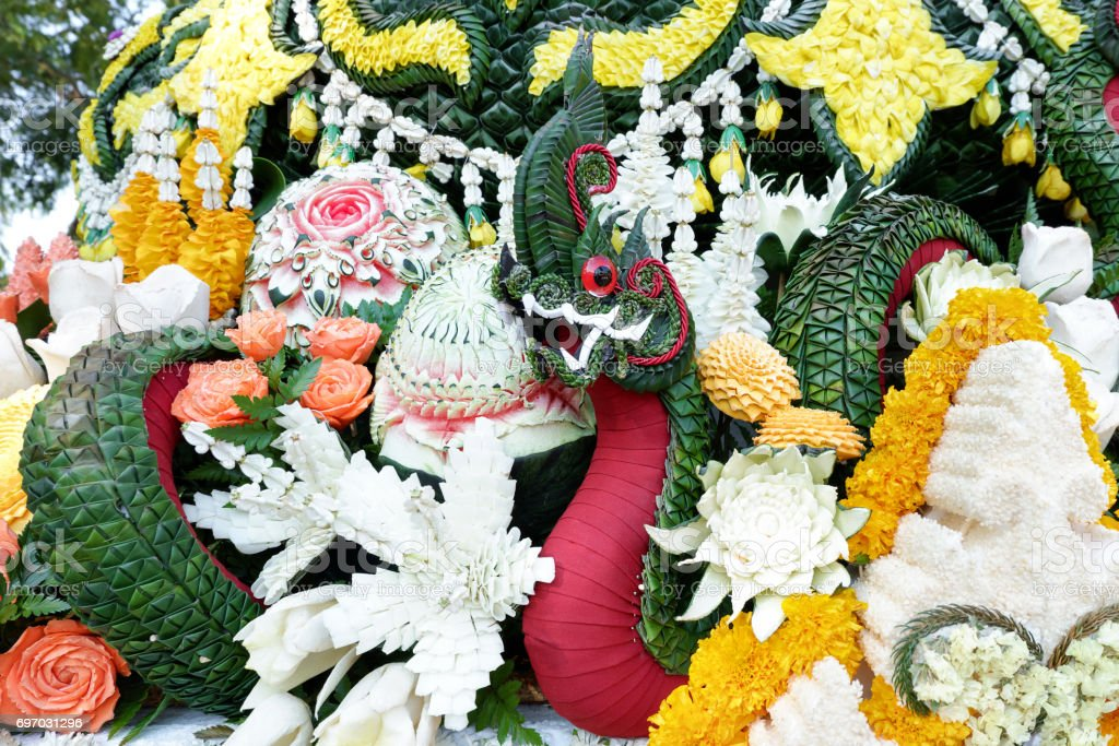 Naga made from banana leaf at Chiang Mai Flower Festival stock photo