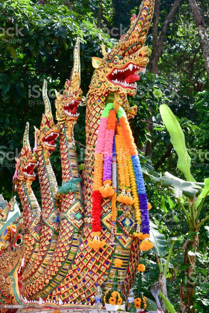 Naga on gates of the temple of Wat Phra That Doi Suthep in Thailand stock photo