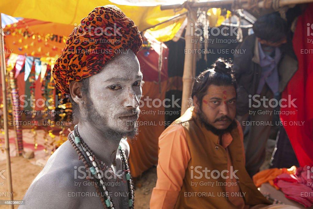 Naga Sadhu covered by ashes at Kumbh Mela royalty-free stock photo