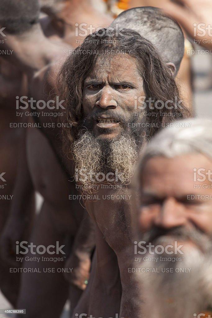 Naga Sadhu on its way to bath in Ganges river royalty-free stock photo