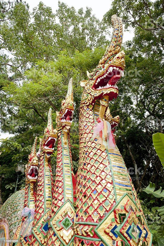 Naga Stairway at Wat Phrathat Doi Suthep Temple Thailand royalty-free stock photo