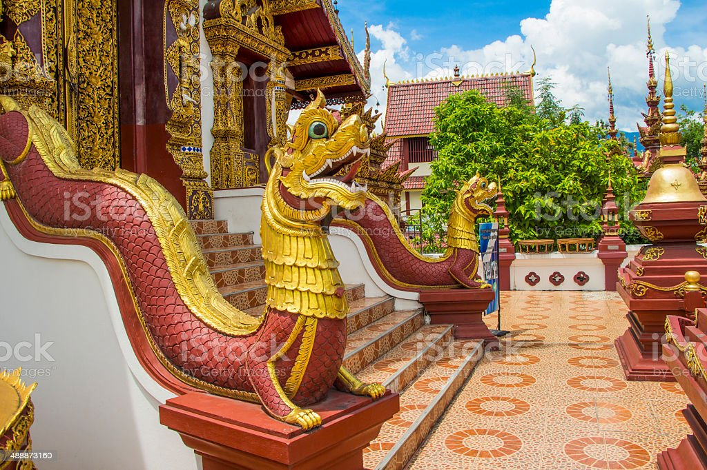 Naga statue at  Wat Montien or Wat Ratcha Montien stock photo