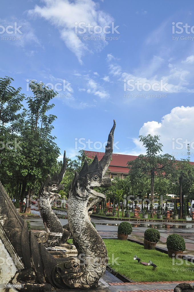 naga statues in ancient temple royalty-free stock photo