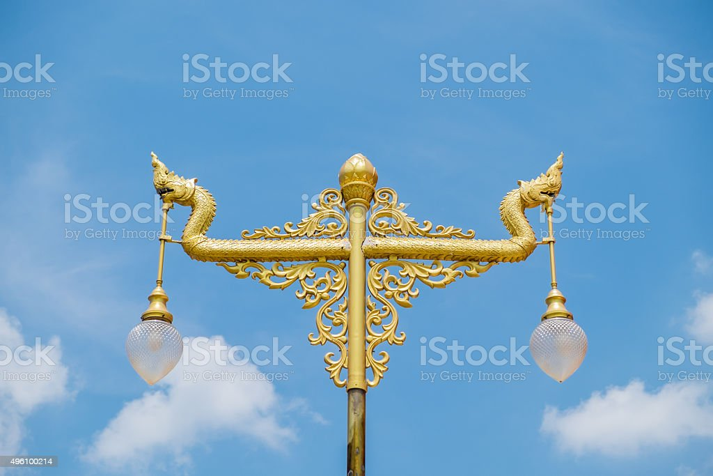 Nagas lantern in gold color stock photo