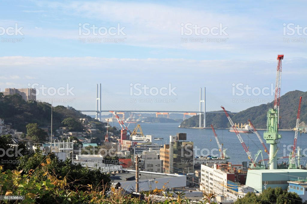 Nagasaki bay and Megami bridge in Nagasaki, Japan stock photo