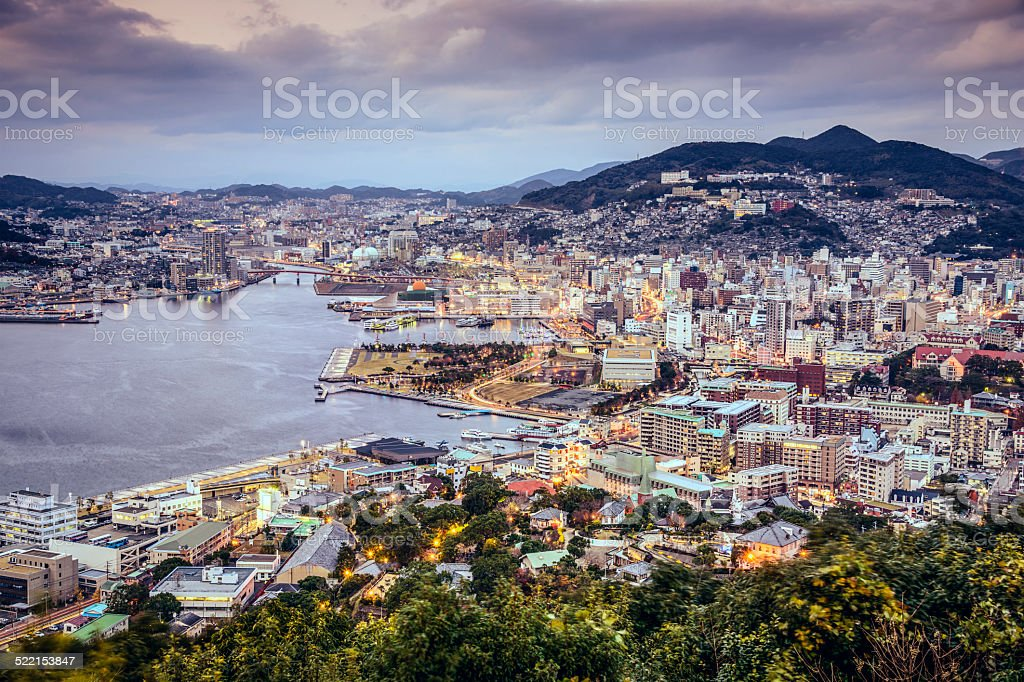 Nagasaki, Japan skyline stock photo