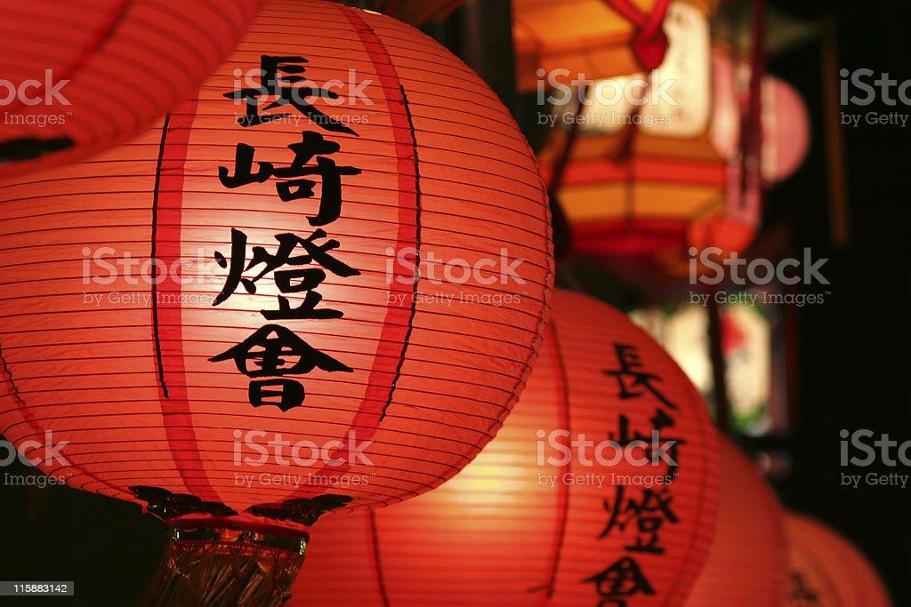 Nagasaki Lantern Festival Close-up stock photo