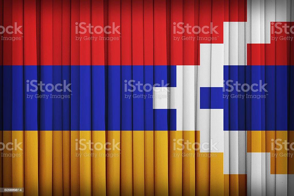 Nagorno-Karabakh flag on the fabric curtain,vintage style stock photo
