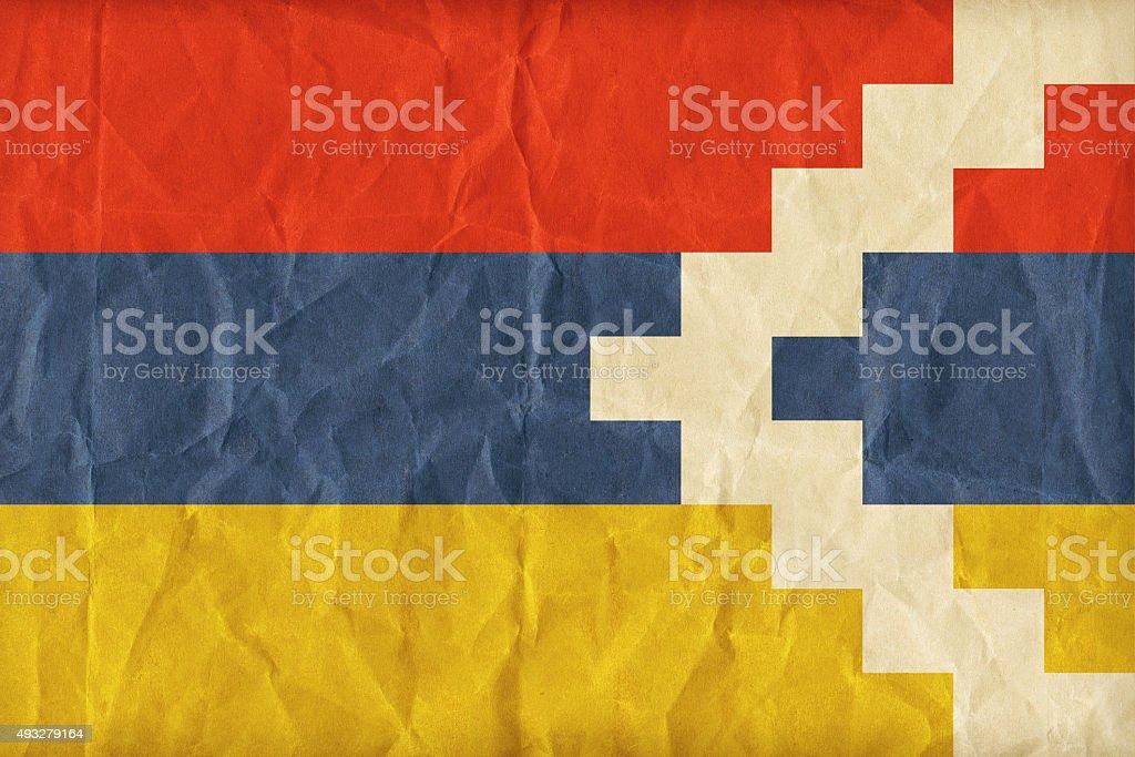 Nagorno-Karabakh flag pattern on paper texture,retro vintage sty stock photo