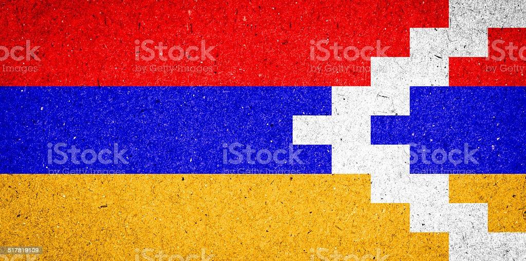 Nagorno-Karabakh Republic flag on paper background stock photo