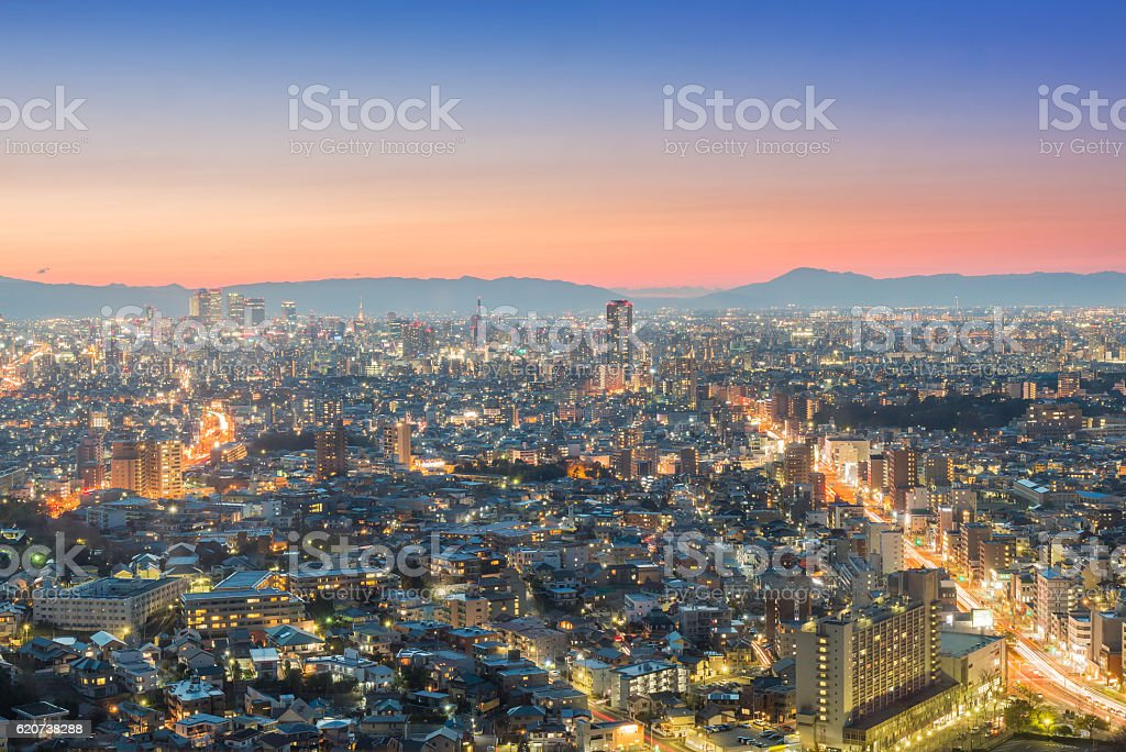 Nagoya cityscape and skyscraper with sky in twilight time stock photo