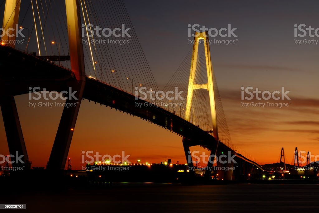Nagoya harbor bridge -Meito Triton- stock photo
