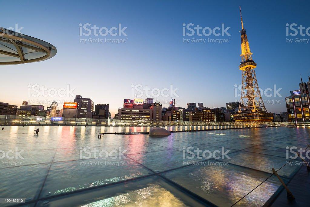 Nagoya, Japan city skyline with Nagoya Tower. stock photo