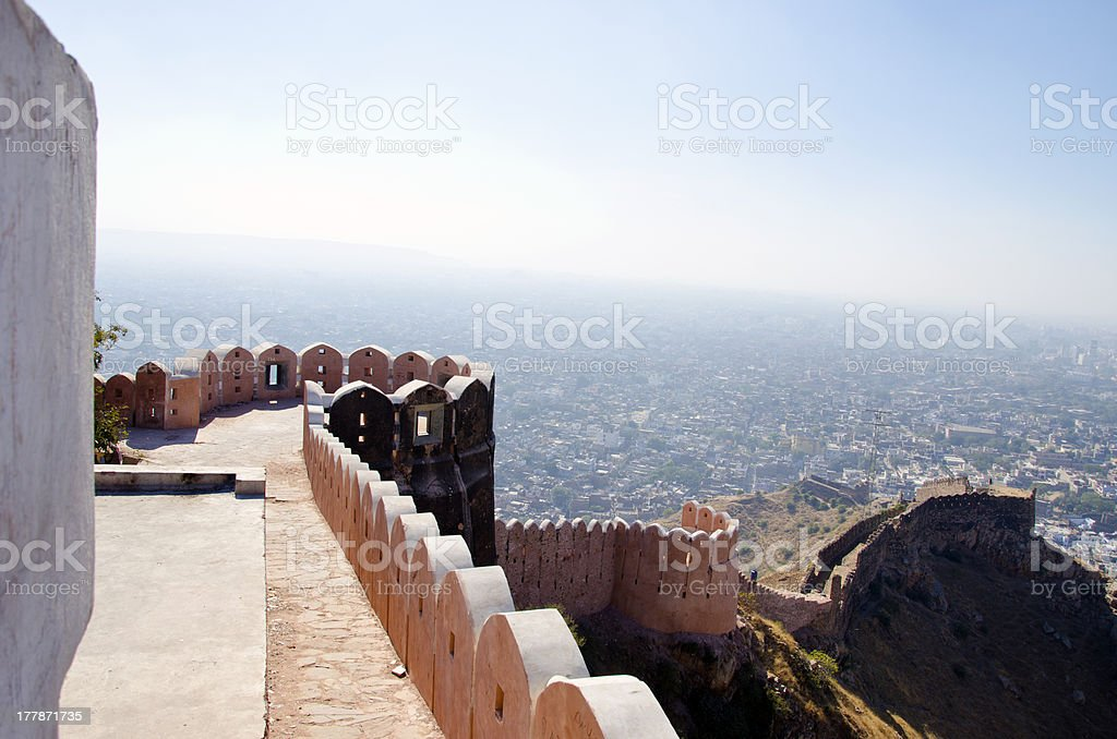 Nahargarh fort and wiew to Jaipur city, India stock photo