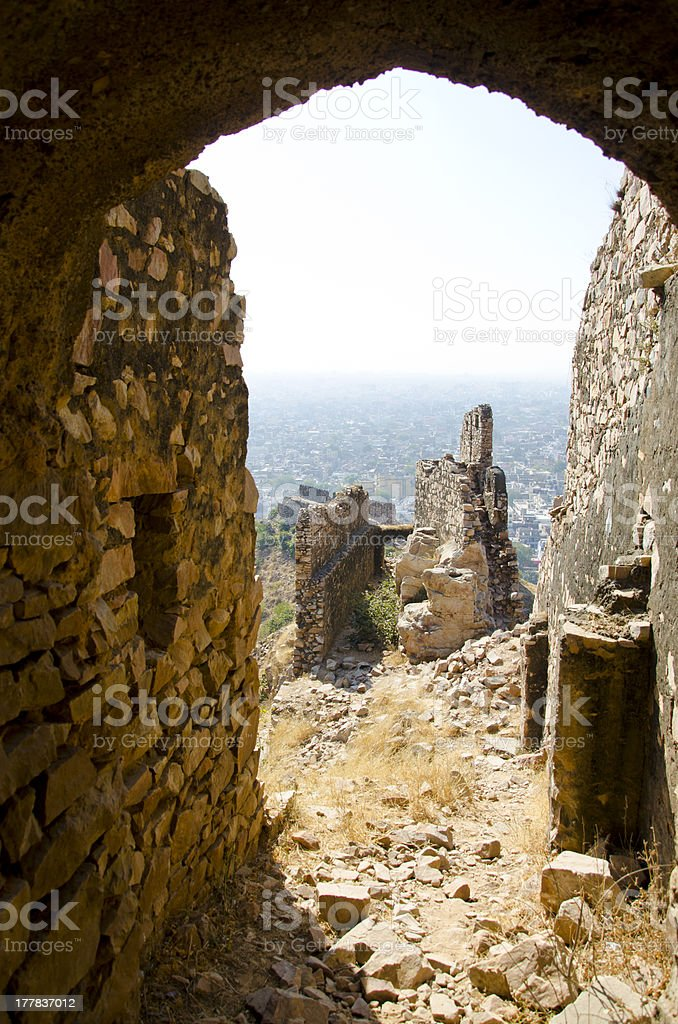 Nahargarh fort ruins in Jaipur, Rajasthan, India stock photo