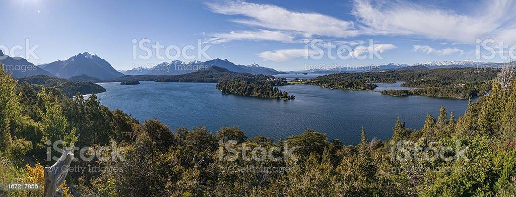 Nahuel Huapi lake at Bariloche Argentina PANORAMA royalty-free stock photo