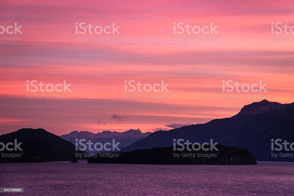Nahuel Huapi lake at sunset, Argentina stock photo