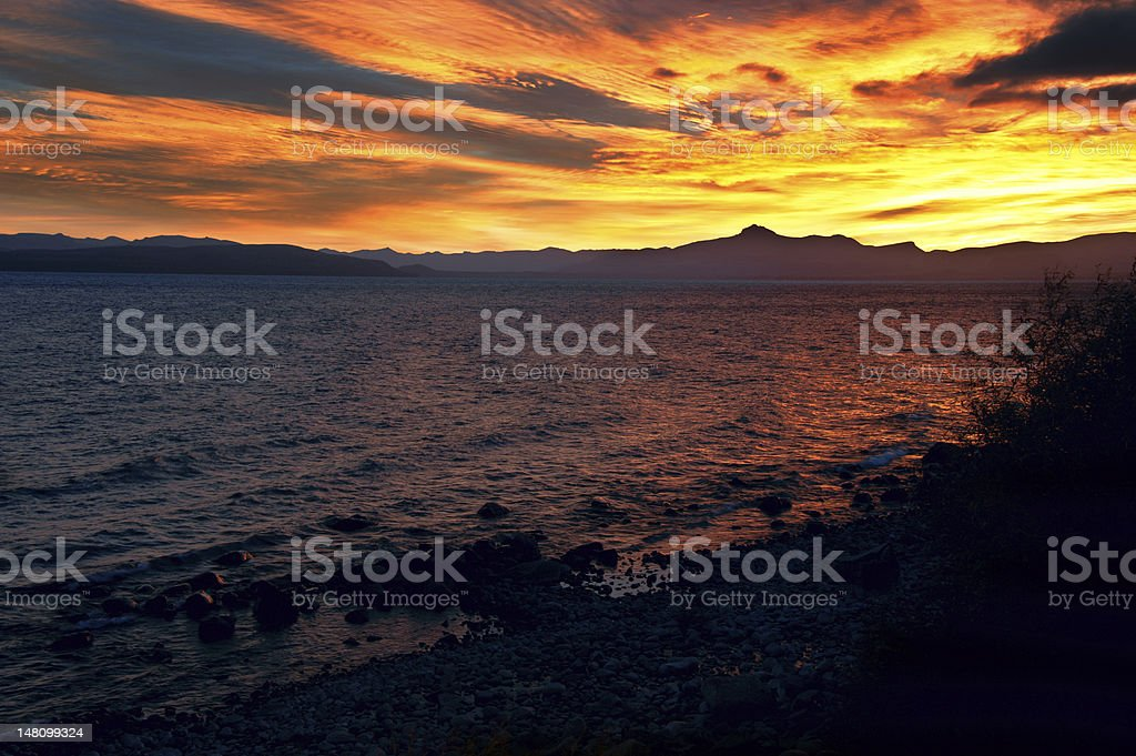 Nahuel Huapi lakeside of the city Bariloche, Patagonia, Argentina royalty-free stock photo