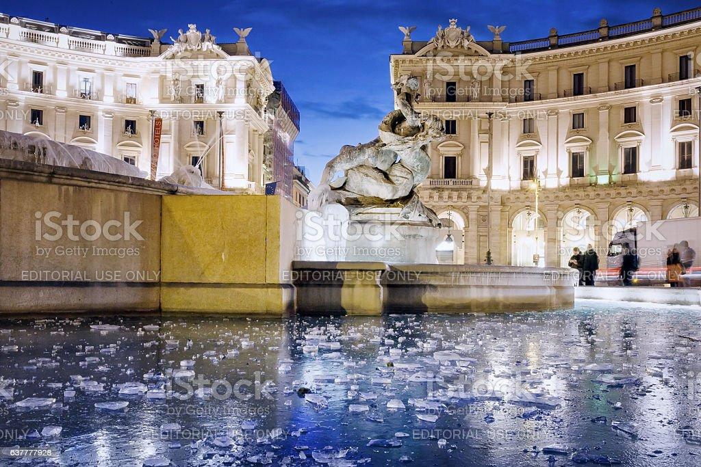 Naiadi Fountain frozen stock photo