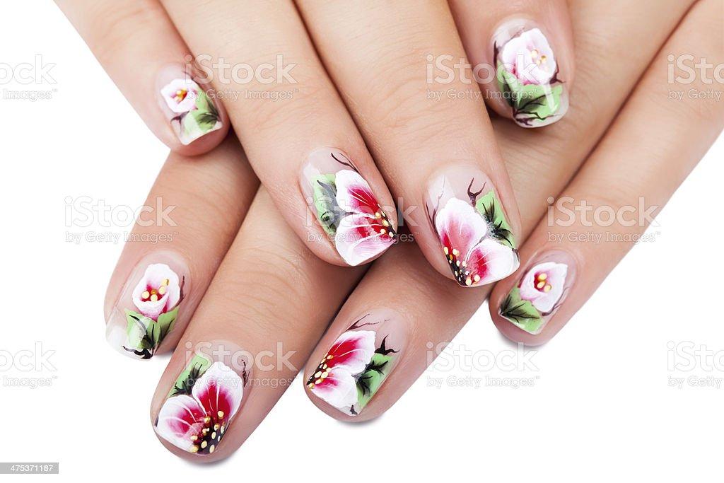 Nail art flower stock photo
