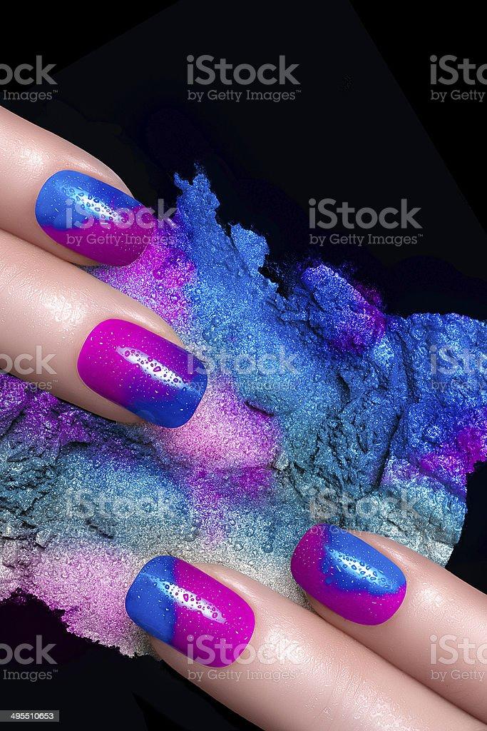 Nail Art. Fluor Nail Polish and Mineral Colorful Eye Shadow stock photo