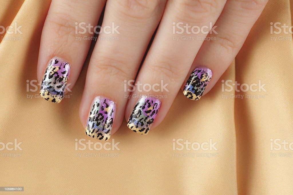 Nail Art - Multicolored Leopard Print Design stock photo
