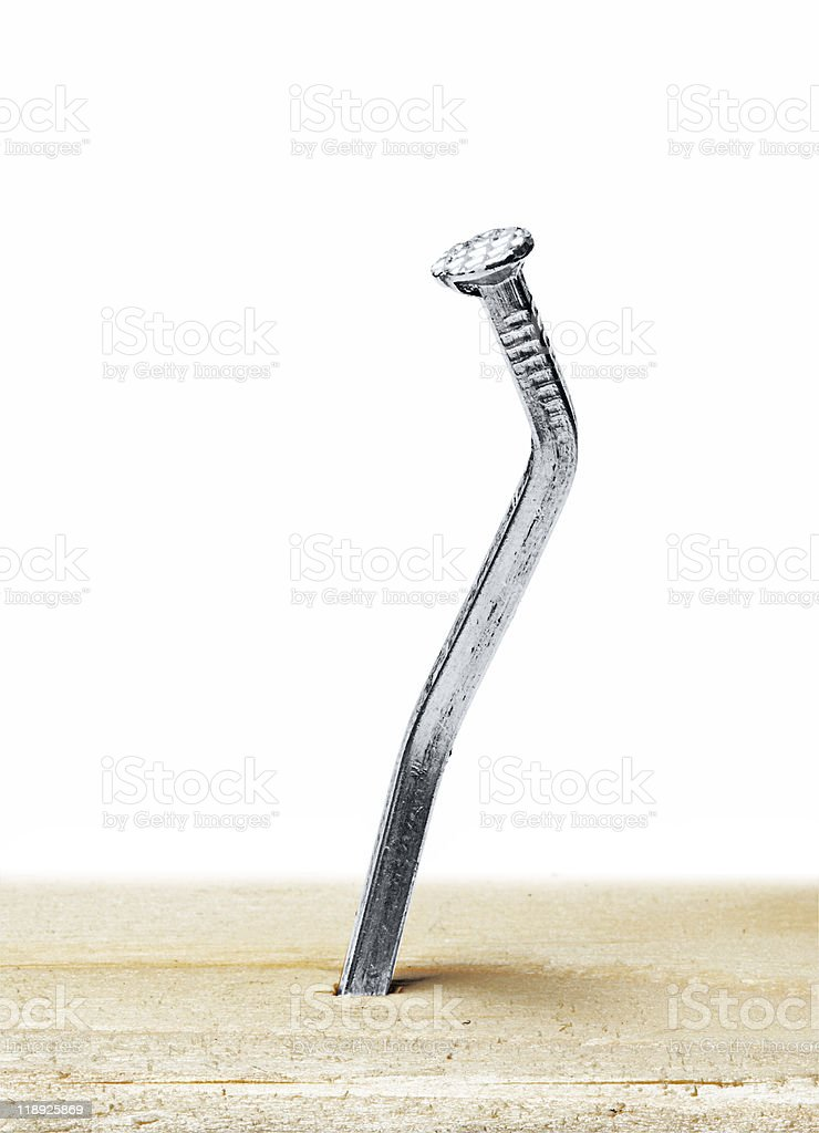 nail bent out of shape stock photo