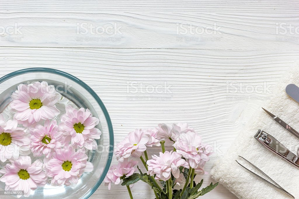 nail care and spa on wooden background top view stock photo