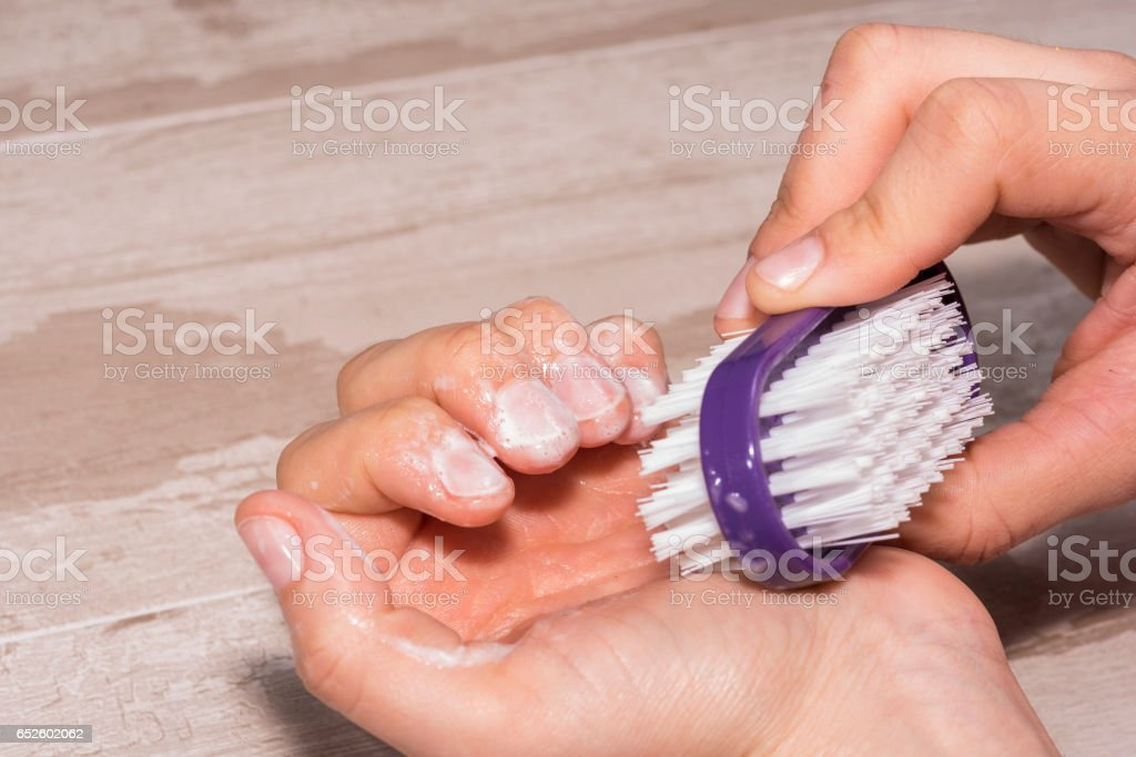 Nail cleaning. stock photo