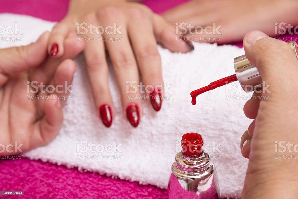 Nail coloring royalty-free stock photo