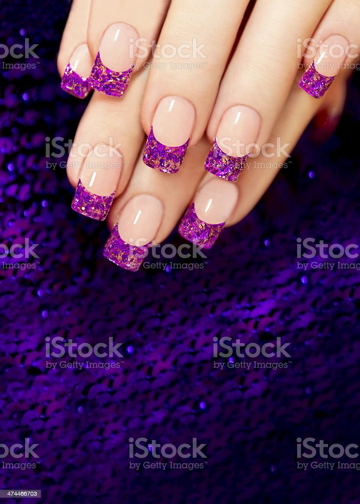 Nail extension with blue mica. royalty-free stock photo