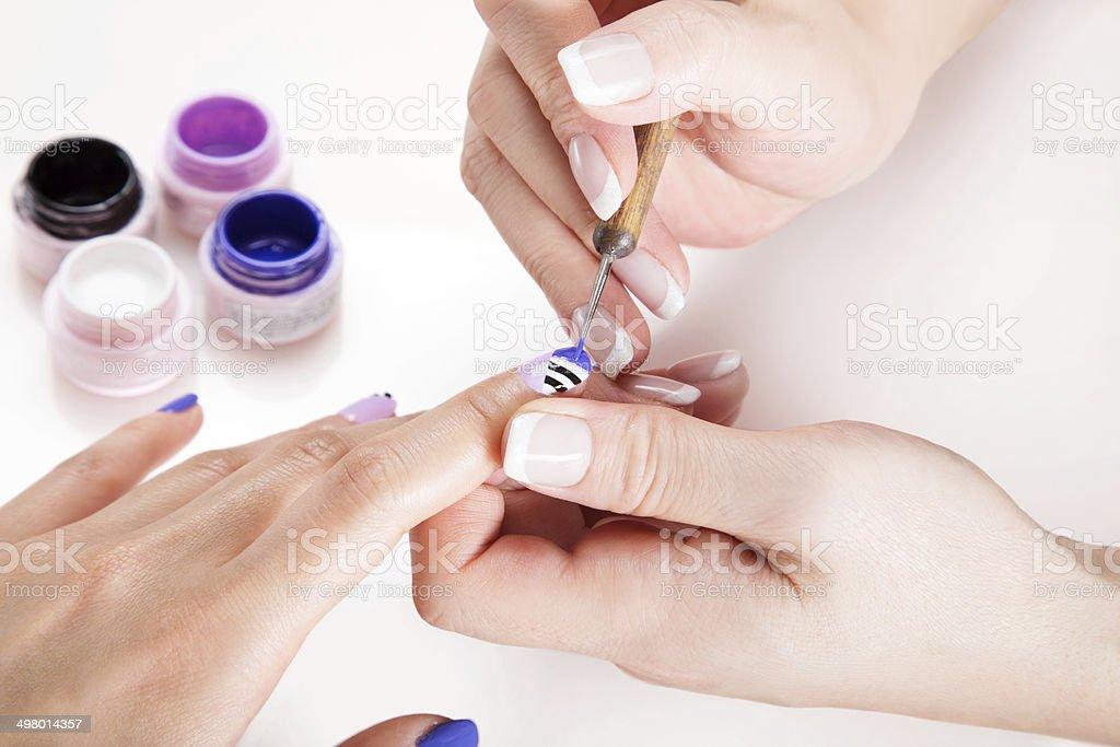 The process of applying the stylish nail art design