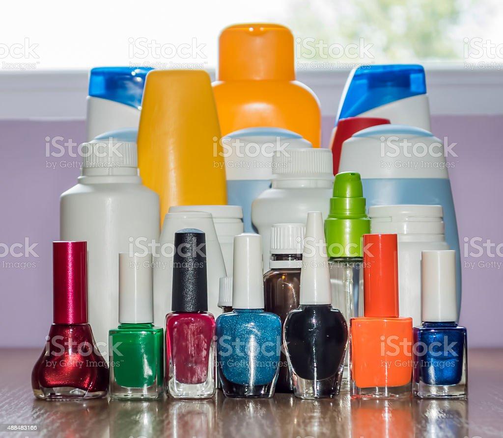 Nail polish and cosmetics personal care stock photo