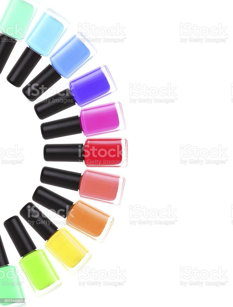 Nail polish rainbow. Colorful manicure colors. stock photo