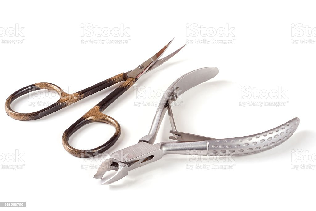 nail scissors and clippers to remove the cuticle care products stock photo