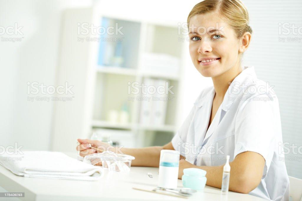 Nail technician stock photo