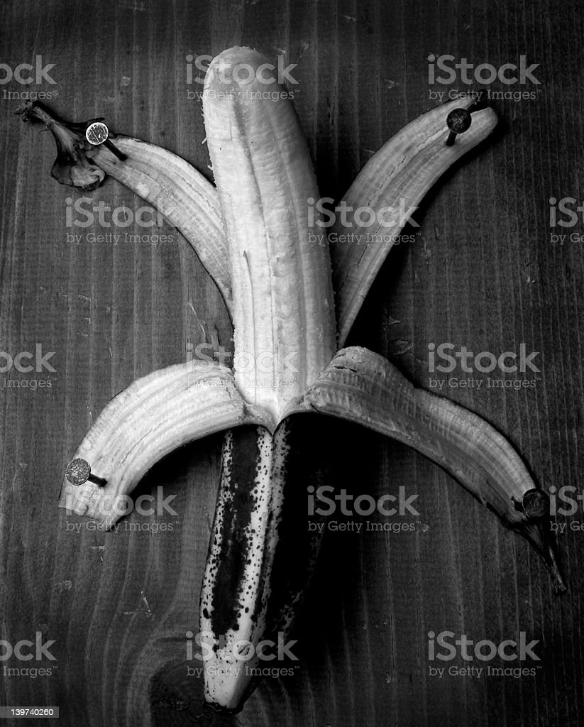 Nailed Banana stock photo
