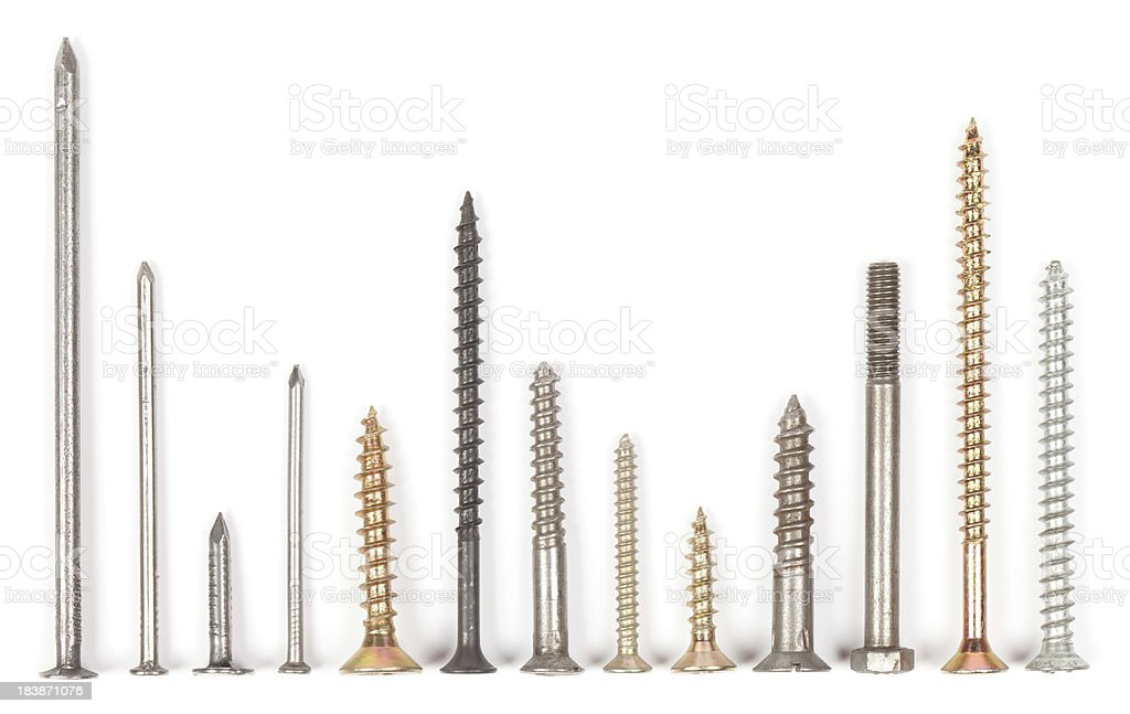 Nails and screws stock photo