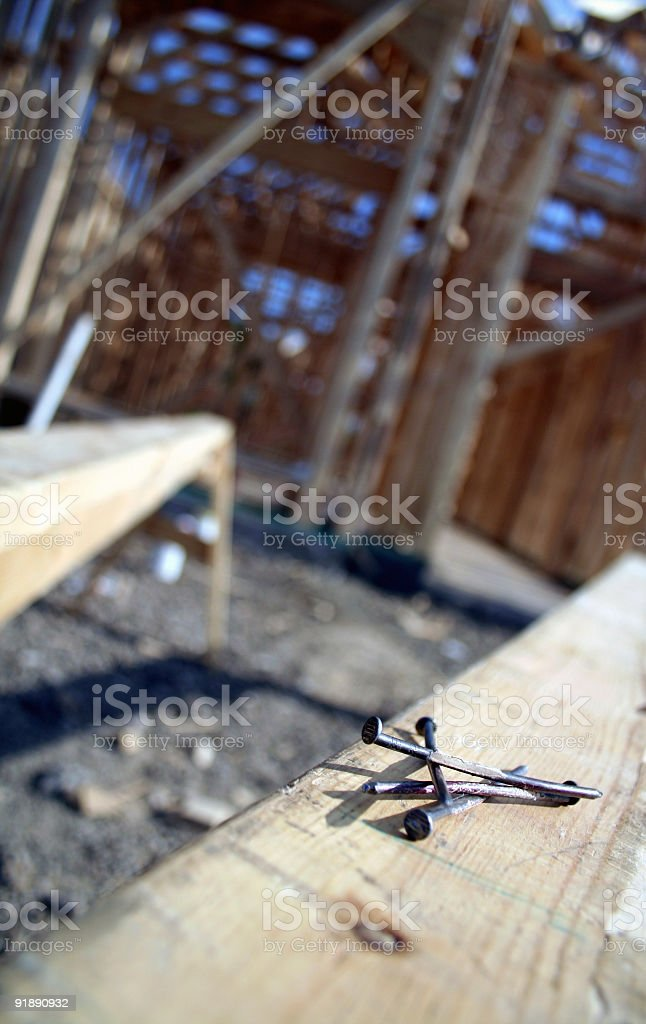 Nails at a work site stock photo